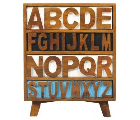 Тумба Alphabeto (RE-032)Тумбы<br>Тумба Alphabeto (RE-032) выполнена в стиле поп-арт.<br> Аккуратная и стильная, изготовлена из дерева манго. <br>Оригинальный дизайн позволит этому предмету мебели стать украшением любого помещения.<br><br>Ширина: 60 см<br>Глубина: 35 см<br>Высота: 70 см<br>Материал: дерево манго<br>Цвет: орех / разноцветный<br>Вес: 30 кг