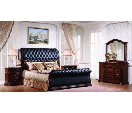 Спальня АлисияСпальные гарнитуры<br>Спальня Алисия - готовое решение для комнаты. Вся мебель идеально подходит друг другу. <br><br> <br>Декоративные элементы выполнены из полипропилена.<br><br>Размер спального места: 180 см х 200 см<br>Габариты кровати: 192,2 см х 250 см<br>Высота изголовья: 145,5 см<br>Комод с зеркалом: 90 см х 49,7 см х 141,5 см<br>Тумба прикроватная: 66,5 см х 44 см х 70,7 см<br>Материал: шпонированный МДФ