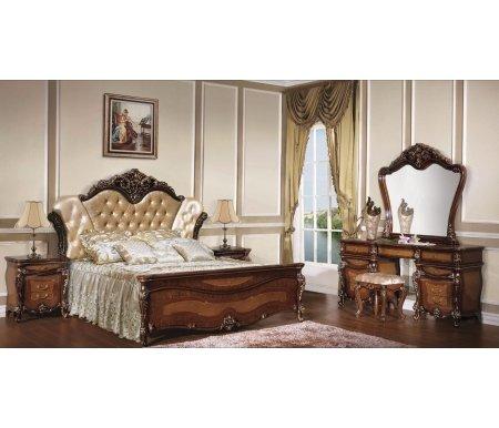 Спальня Маринелла 1308Спальные гарнитуры<br>Спальня Маринелла - прекрасное готовое решение для комнаты. Вся мебель идеально подходит друг другу. <br><br> <br>Декоративные элементы выполнены из полипропилена.<br><br>Размер спального места: 180 см х 200 см<br>Габариты кровати: 216,5 см х 217 см<br>Высота изголовья: 172 см<br>Тумба прикроватная: 61,5 х 46,5 х 66,5 см<br>Туалетный стол с зеркалом: 174,5 х 50 см х 83 см<br>Пуф: 43 см х 37 см х 48 см<br>Материал: шпонированный МДФ