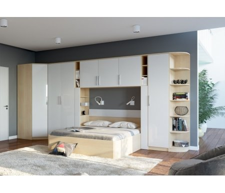 Спальня Николь (комплектация 2)Спальные гарнитуры<br><br><br>Цвет: Ясень Шимо темный / Крем-брюле глянец / Мокко глянец