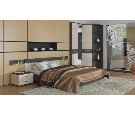 Спальня  Сити 2 (комплектация 2)Спальные гарнитуры<br>Спальный гарнитур Сити выполнен в современном стиле. <br> <br>  Корпус мебели, а также вставки на фасаде шкафов и спинке кровати имеют темно-серый цвет тексит, который имитирует ткань. Фасад мебели имеет бежевый цвет каттхилт, который имитирует поверхность дерева.<br> <br>  Ручки шкафов, комода и тумбы выполнены из металла цвета хром.<br> <br> <br>В комплект входят: двуспальная кровать с подъемным механизмом, двухдверный шкаф, угловой шкаф, стеллаж, две прикроватные тумбочки и две полки.<br><br>Размер спального места: 160 см х 200 см<br>Габариты кровати: 170 см х 207,1 см<br>Высота кровати: 75,3 см<br>Полка: 50 см х 12 см х 15 см<br>Тумба: 50,6 см х 44,3 см х 37,3 см<br>Угловой шкаф: 90,3 см х 90,3 см х 230,5 см<br>Двухдверный шкаф: 93,4 см х 58,6 см х 230,5 см<br>Стеллаж: 30,2 см х 58,6 см х 230,5 см<br>Материал корпуса: ЛДСП<br>Цвет корпуса: тексит<br>Материал каркаса: ЛДСП<br>Цвет каркаса: тексит / каттхилт