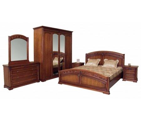 Спальня Валенсия C05Спальные гарнитуры<br>Спальня Валенсия C05 выполнена в традиционном стиле классики, элегантный дизайн наполняет атмосферу комнаты аристократической роскошью и респектабельностью.<br> <br>Оригинальный декор и высокое качество исполнения, подчеркивают великолепный вкус владельцев.<br><br>Размер спального места: 160 см х 200 см<br>Габариты кровати 160 х 200: нет данных<br>Размер спального места: 180 см х 200 см<br>Габариты кровати 180 х 200: нет данных<br>Ширина комода с зеркалом: 130 см<br>Глубина комода с зеркалом: 48 см<br>Высота комода с зеркалом: 82 см<br>Ширина прикроватной тумбы: 55 см<br>Глубина прикроватной тумбы: 42 см<br>Высота прикроватной тумбы: 60 см<br>Ширина шкафа: 210 см<br>Глубина шкафа: 65 см<br>Высота шкафа: 220 см<br>Материал: массив тополя, МДФ, шпон<br>Цвет: Z01 (вишня)