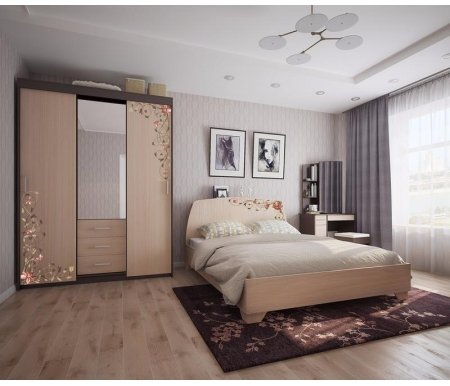 Спальня Виктория-2Спальные гарнитуры<br>Спальня Виктория состоит из: <br>1. Кровать 1,6 Виктория-2<br> <br>Размер спального места: 160 x 200 см.<br> <br>Размеры кровати (Ш x Г x В): 166 x 219 x 102 см.<br> <br>2. Шкаф-купе (0,6) Виктория-2<br> <br>Размеры (Ш x Г x В): 160 x 57,4 x 220 см.<br> <br>3. Трюмо Виктория-2<br> <br>Размеры (Ш x Г x В): 81 x 40 x 160 см.<br> <br>4. Пуф Виктория-2<br> <br>Размеры (Ш x Г x В): 33 x 33 x 44 см.<br> <br> <br>  <br> <br> <br>Материалы: корпус - ЛДСП, фасад - ЛДСП.<br> <br> <br>  <br> <br> <br>Цвет: венге/дуб млечный + принтерный рисунок.<br>