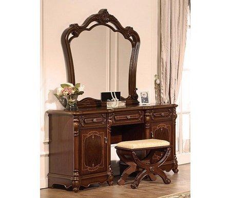 Туалетный стол с зеркалом Адриана AV-01Туалетные столики<br>Элегантный туалетный столик с зеркалом отлично впишется в спальню. <br>Декоративные элементы выполнены из полипропилена.<br><br>Ширина: 155,4 см<br>Глубина: 52 см<br>Высота: 82,5 см<br>Материал: шпонированный МДФ<br>Вес: 95 кг