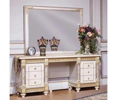 Туалетный стол с зеркалом Джанни 3253Туалетные столики<br>Элегантный туалетный столик с зеркалом отлично впишется в спальню. <br>Декоративные элементы выполнены из полипропилена.<br><br>Ширина: 172 см<br>Глубина: 53,5 см<br>Высота: 185,5 см<br>Материал: шпонированный МДФ