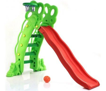 Купить Детская горка Kms-sport, с баскетбольным кольцом Мультик, пластик