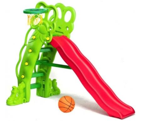 Купить Детская горка Kms-sport, с баскетбольным кольцом Травинка, пластик