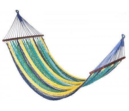 Гамак MEXICO плетеныйГамаки<br>Гамак MEXICO плетеный - яркая хлопковая модель ручной работы. <br>Максимальная нагрузка 140 кг.<br> <br> <br>  Размер полотна: 230 см х 110 см.<br> <br>  Общая длина: 330 см.<br> <br> <br>К данному гамаку можно отдельно заказатькаркас ARCикаркас MULTI.<br><br>Длина: 290 см<br>Ширина: 110 см<br>Материал полотна: хлопковая плотная ткань<br>Цвет: белый, красно-голубой, желто-синий<br>Вес: 3 кг