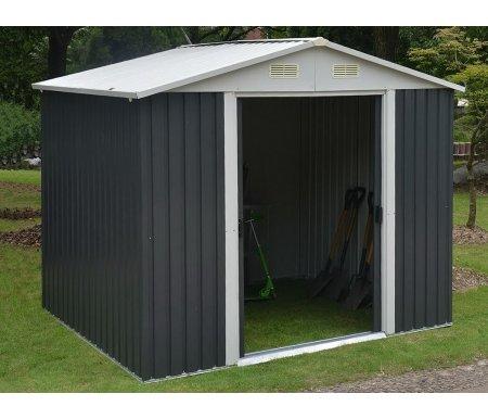 Металлический сарай Isak 8x8Хозблоки и сараи<br>Площадь внутренняя: 5,85 кв.м. <br>Ширина дверного проема: 101 см.<br> Размер упаковки: 190 x 87 x 13 см.<br><br>  <br><br>  Особенности:<br><br>  - антикоррозионная обработка (цинкование, поверхностная покраска);<br><br>  - раздвижные двери.<br><br>Сарай можно ставить только на ровную поверхность (асфальт, плитка).<br>