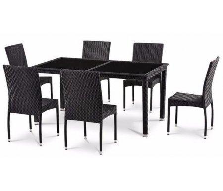 Комплект мебели стол T-246A и 6 стульев Y-292AКомплекты<br>В комплект садовой мебели входят шесть стульев и стол со столешницей из закаленного тонированного стекла черного цвета, края стола оплетены искусственным ротангом. Толщина стекла - 6 мм.<br> <br>Каркас изделий выполнен из стали и искусственного ротанга.<br> <br>Комплект рассчитан на 6 человек.<br><br>Длина стола: 160 см<br>Ширина стола: 90 см<br>Высота стола: 75 см<br>Ширина стула: 45 см<br>Глубина стула: 43 см<br>Высота стула: 92 см<br>Цвет: black