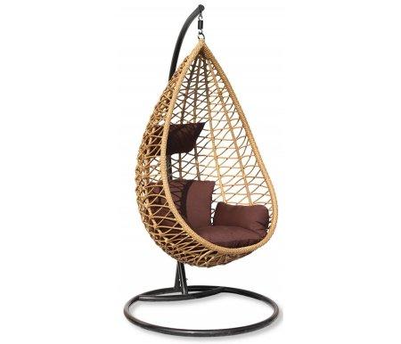 Плетеное подвесное кресло из ротанга SilesПодвесные кресла<br>Размер чаши (Ш x Г x В): 124 x 93 x 140 см.<br>Диаметр основания - 95 см, высота штанги - 200 см.<br><br>Подушки, которые идут в комплекте, выполнены из водоотталкивающей ткани высокого качества.<br>
