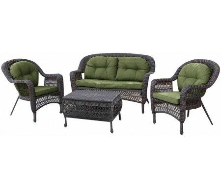 Купить Комплект для отдыха Афина, из ротанга 2+1+1 LV520GG Grey/Green, Россия, Grey / Green
