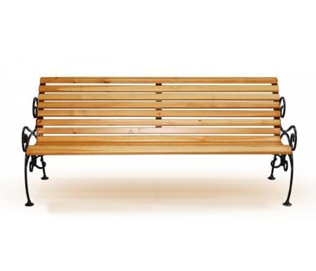 Лавка с ковкой Карелия MC-9Скамейки<br><br><br>Длина: 200 см<br>Ширина: 73 см<br>Высота: 85 см<br>Материал каркаса: металл<br>Цвет каркаса: чёрный<br>Материал сиденья: массив сосны<br>Цвет сиденья: сосна