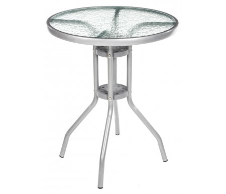 Стол D60Столы<br>Стол на стальном каркасе со столешницей из закаленного стекла. Каркас изготовлен из стали с полимерным покрытием, диаметром 25 мм.<br> <br>У стола имеется отверстие для зонта.<br><br>Длина: 60 см<br>Ширина: 60 см<br>Высота: 70 см<br>Цвет каркаса: серебристый металлик