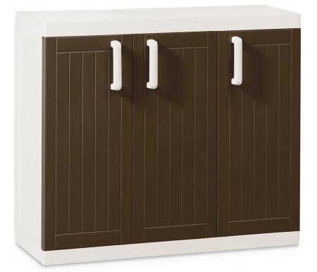Тумба Verbek S трехдверная узкаяМебель для уличного хранения<br>Размер упаковки:  65 x 37 x 85 см.<br> Максимальная нагрузка на полку 20 кг. <br><br>В комплекте 2 переставные полки.<br>
