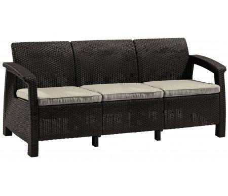 Трехместный диван GerdaДиваны<br>Диван сделан из прочного погодостойкого пластика с имитацией под плетение искусственного ротанга.<br>