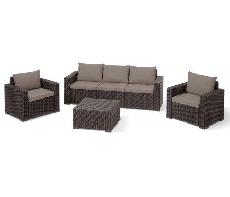 Комплект мебели KarenПластиковые комплекты для отдыха<br>Комплект сделан из прочного погодостойкого пластика с имитацией под плетение искусственного ротанга.<br>