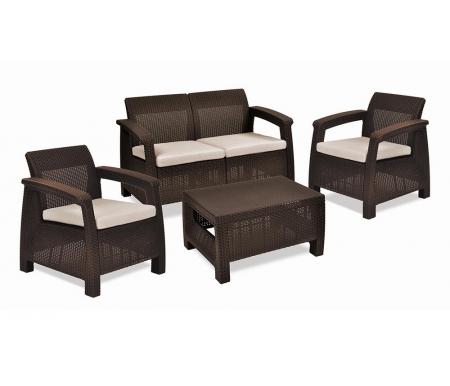 Комплект уличной мебели Patricia без ящикаПластиковые комплекты для отдыха<br>Комплект сделан из прочного погодостойкого пластика с имитацией под плетение искусственного ротанга.<br>