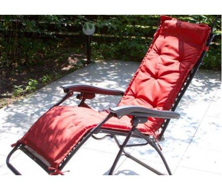 Подушки к стулу ZD -1Шезлонги<br>Подушки к стулу ZD -1 практичны и удобны.<br> <br>Изготовлены из особенной ткани, которая не промокает в дождь и не нагревается в жару, а также не выгорает под солнцем.<br><br>Длина: 185 см<br>Ширина: 68 см<br>Материал: водостойкая ткань<br>Цвет: красный