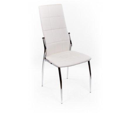 Стул F68-A белыйСтулья<br><br><br>Ширина сиденья: 45 см<br>Глубина сиденья: 42 см<br>Высота спинки: 100 см<br>Материал каркаса: хромированный металл<br>Материал обивки: кожзаменитель<br>Цвет обивки: белый<br>ДЕФЕКТ: незначительный дефект<br>Количество: 4 шт.