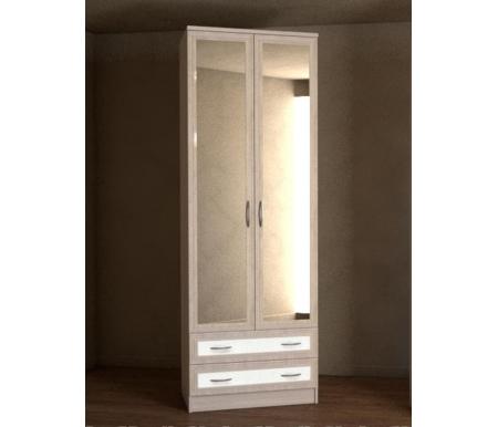 Купить Шкаф двухдверный Диал, Кэт — 1 Caiman VR04G с зеркалом ясень светлый