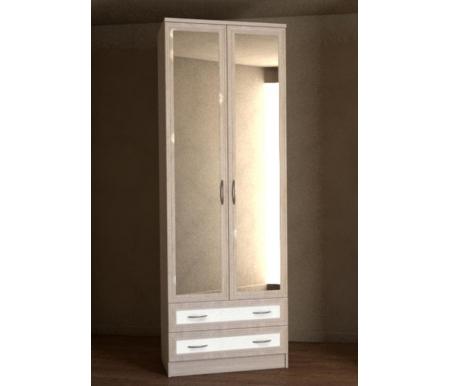 Купить Шкаф двухдверный Диал, Кэт — 1 Caiman VR14G с зеркалом ясень светлый