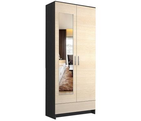 Купить Шкаф двухдверный НК мебель, Ребекка 80 см с зеркалом венге / дуб кремона, Россия, венге /дуб кремона
