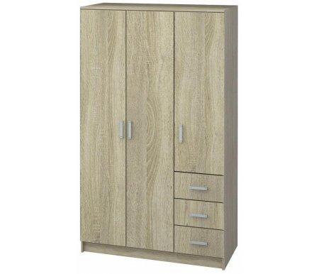 Купить Шкаф трехдверный НК мебель, Хай-тек 120 см с ящиками дуб сонома