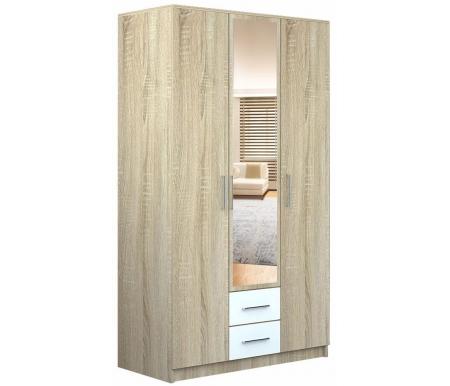 Купить Шкаф трехдверный НК мебель, Ломбардия 120 см с зеркалом дуб сонома / белый