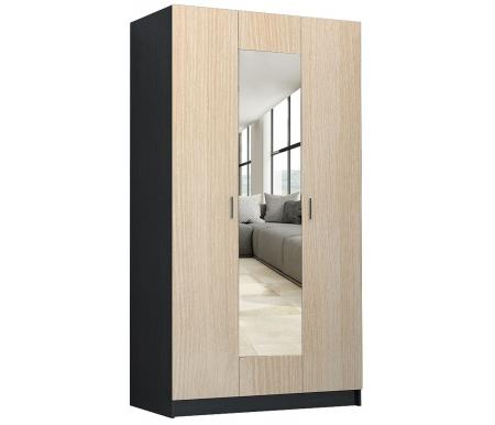 Купить Шкаф трехдверный НК мебель, Ребекка 120 см с зеркалом венге / дуб кремона, Россия