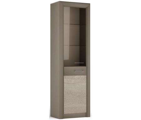 Витрина СБК-мебель Лацио серый камень / дуб гладстоун белый фото