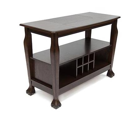 Консольный барный стол DNSG - 5236Барные стойки<br>Функциональный и вместительный консольный барный стол послужит приятным дополнением для Вашей кухни, столовой или гостиной. <br><br> Возможны три варианта исполнения консольного барного стола: <br><br> 1) консольный барный стол 5236-R - вставка ротанг <br><br> 2) консольный барный стол 5236-S - вставка камень <br><br> 3) консольный барный стол 5236-C - вставка кожа крокодила.<br><br>Длина: 130 см<br>Ширина: 55 см<br>Высота: 90 см<br>Материал каркаса: массив гевеи<br>Цвет каркаса: тёмно-коричневый (GR MINDI#1)