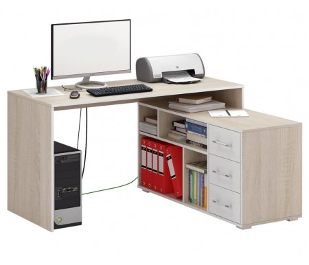 Компьютерный стол Краст-2 МСТ-УСК-02-##-16-ПР правый дуб сонома / белыйКомпьютерные столы<br>Выдвижные ящики на роликовых направляющих.<br><br>  <br><br><br>Срок изготовления - 7 рабочих дней!<br>