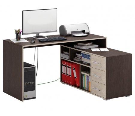 Компьютерный стол Краст-2 МСТ-УСК-02-##-16-ПР правый венге / дуб сономаКомпьютерные столы<br>Выдвижные ящики на роликовых направляющих.<br><br>  <br><br><br>Срок изготовления - 7 рабочих дней!<br>