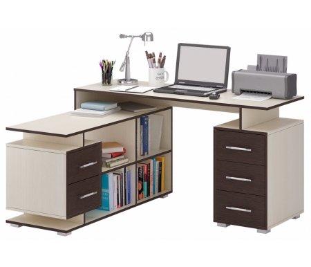 Компьютерный стол Краст-3 МСТ-УСК-03-##-16 дуб молочный / венге (модерн)Компьютерные столы<br>Выдвижные ящики на роликовых направляющих.<br><br>Срок изготовления - 7 рабочих дней!<br>