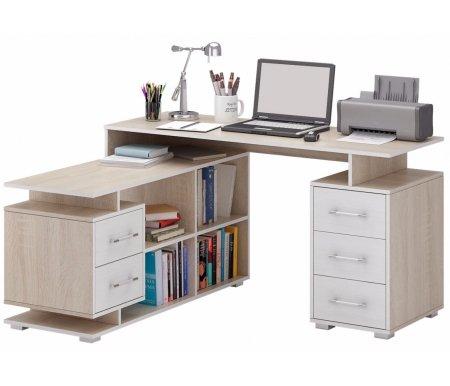 Компьютерный стол Краст-3 МСТ-УСК-03-##-16 дуб сонома / белый (модерн)Компьютерные столы<br>Выдвижные ящики на роликовых направляющих.<br><br>Срок изготовления - 7 рабочих дней!<br>