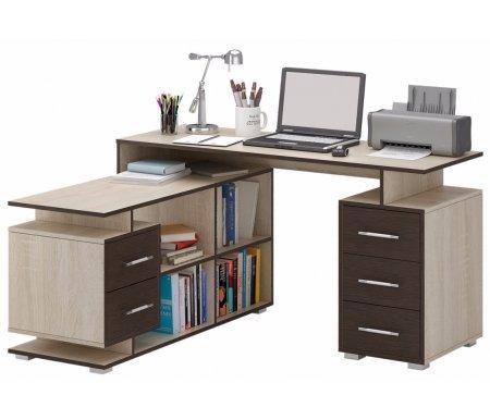 Компьютерный стол Краст-3 МСТ-УСК-03-##-16 дуб сонома / венге (модерн)Компьютерные столы<br>Выдвижные ящики на роликовых направляющих.<br><br>Срок изготовления - 7 рабочих дней!<br>