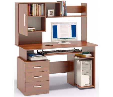 Компьютерный стол КСТ-08+КН-34Компьютерные столы<br>Надстройка к компьютерному столу КСТ-08В+КН-34 оснащена полками, шкафчиком с полочками для книг. <br>Встроенная тумба с тремя ящиками и полка под системный блок могут быть размещены с любой стороны (стол может быть как правым, так и левым). Стол изготовлен из ДСП, толщиной 16 мм, с ПВХ кромкой, защищающей от вмятин и царапин.<br> <br> <br>  <br>  <br>  Стол поставляется в разобранном виде (2 упаковки).<br><br>Длина: 130 см<br>Ширина: 66 см<br>Высота: 151,2 см<br>Материал: ЛДСП, ПВХ<br>Цвет: испанский орех, дуб венге, ольха, ноче-экко<br>Вес: 68 кг
