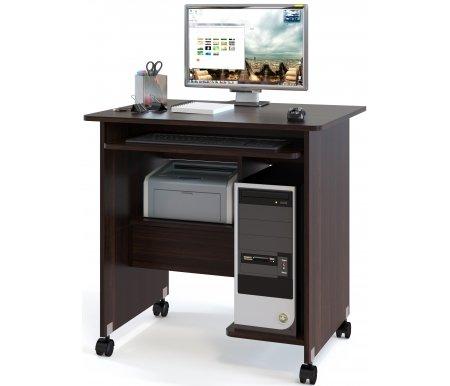 Компьютерный стол КСТ-10Компьютерные столы<br>Компьютерный стол КСТ-10 на поворотных колесах очень компактный и практичный. Включает в себя выдвижные ящик и полку для клавиатуры. <br><br> <br>Стол поставляется в разобранном виде.<br><br>Длина: 80 см<br>Ширина: 63 см<br>Высота: 79,5 см<br>Материал: ЛДСП<br>Цвет: венге, испанский орех, ноче-экко