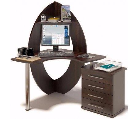Компьютерный стол КСТ-101 + КТ-102Компьютерные столы<br>Угловой компьютерный стол КСТ-101 + КТ-102 с приставной тумбой, оснащенной четырьмя выдвижными ящиками. Может быть выполнен как в левостороннем (тумба слева), так и в правостороннем (тумба справа) варианте. Столешница стола из ламинированной ДСП (толщина 22 мм) изготовлена таким образом, чтобы обеспечить поддержку локтей. Этим достигается разгрузка мышц и гарантируется правильная посадка за компьютером. <br> <br>  <br> <br> <br>Стол поставляется в разобранном виде (3 упаковки).<br><br>Длина: 100 см<br>Ширина: 135 см<br>Высота: 156 см<br>Материал: ЛДСП, ПВХ, металл<br>Цвет: испанский орех, дуб венге<br>Вес: 61 кг