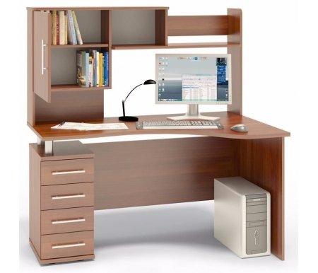 Купить Компьютерный стол Сокол, КСТ-104 + КН-14 левый испанский орех, испанский орех / испанский орех / испанский орех