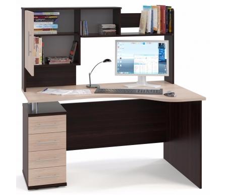 Купить Компьютерный стол Сокол, КСТ-104 + КН-14 левый венге / беленый дуб, венге / беленый дуб / беленый дуб