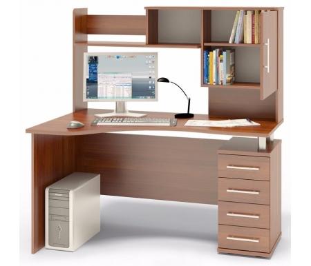 Купить Компьютерный стол Сокол, КСТ-104 + КН-14 правый испанский орех, испанский орех / испанский орех / испанский орех