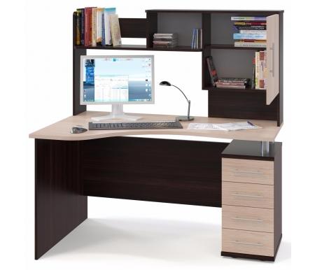 Купить Компьютерный стол Сокол, КСТ-104 + КН-14 правый венге / беленый дуб, венге / беленый дуб / беленый дуб