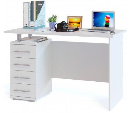 Компьютерный стол КСТ-106Компьютерные столы<br>Компьютерный стол КСТ-106 включает в себя тумбу с четырьмя выдвижными ящиками и нишей. Прекрасный светлый стол будет отлично смотреться в интерьере. <br><br> <br>Поставляется в разобранном виде.<br><br>Длина: 120 см<br>Ширина: 60 см<br>Высота: 75 см<br>Материал: ЛДСП<br>Цвет: белый