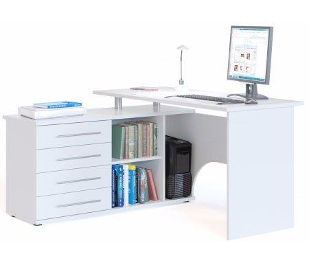 Компьютерный стол КСТ-109Л белыйКомпьютерные столы<br>Стол может быть выполнен с правым или левым углом. Края изделия обработаны кантом ПВХ. Задняя стенка изготовлена из ЛДСП.<br><br>  <br><br><br>Внутренний размер ящиков - 45,6 см х 34,6 см. <br>  Размер ниши под системный блок (ШхГхВ) - 22 см х 44 см х 56,5 см.<br>