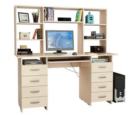 Компьютерный стол Милан-10П МСТ-СДМ-10-ПЛ-##-16 с надставкой МСТ-НСМ-БШ-##-16 дуб молочныйКомпьютерные столы<br>Параметры надставки (В х Г х Ш): 75 см х 25 см х 143,6см.<br>