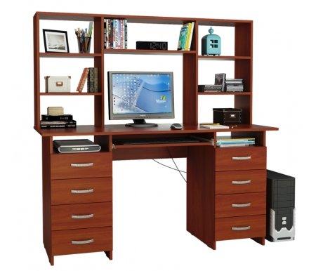 Компьютерный стол Милан-10П МСТ-СДМ-10-ПЛ-##-16 с надставкой МСТ-НСМ-БШ-##-16 итальянский орехКомпьютерные столы<br>Параметры надставки (В х Г х Ш): 75 см х 25 см х 143,6см.<br>