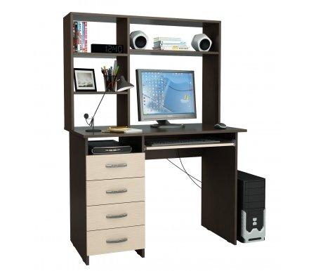 Компьютерный стол Милан-3 МСТ-СДМ-03-##-16 с надставкой МСТ-НСМ-СР-##-16 венге / дуб молочныйКомпьютерные столы<br>Выдвижные ящики на роликовых направляющих. <br>Размещение тумбы возможно как с правой, так и с левой стороны.При заказе необходимо выбрать нужный вариант.<br> <br>Параметры надставки (В х Г х Ш): 75 см х 25 см х 110 см.<br>