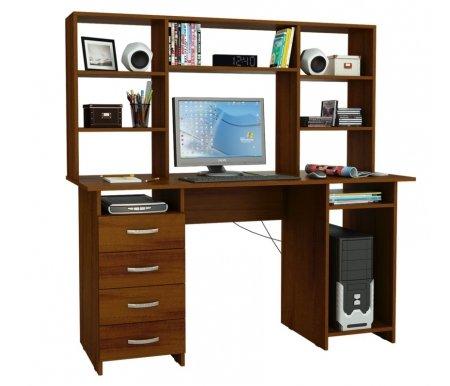 Компьютерный стол Милан-6 МСТ-СДМ-06-##-16 с надставкой МСТ-НСМ-БШ-##-16 орехКомпьютерные столы<br>Выдвижные ящики на роликовых направляющих. <br>Параметры надставки (В х Г х Ш): 75 см х 25 см х 143,6см.<br>